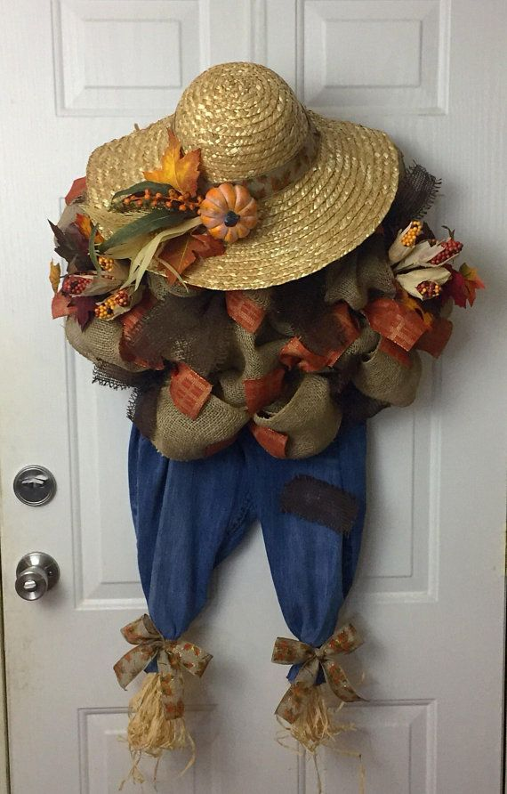 Scarecrow Wreath, Thanksgiving Wreath, Front Door Decor, Fall Wreath, Fall Decor, Holiday Decor, Fall Decorations #scarecrowwreath