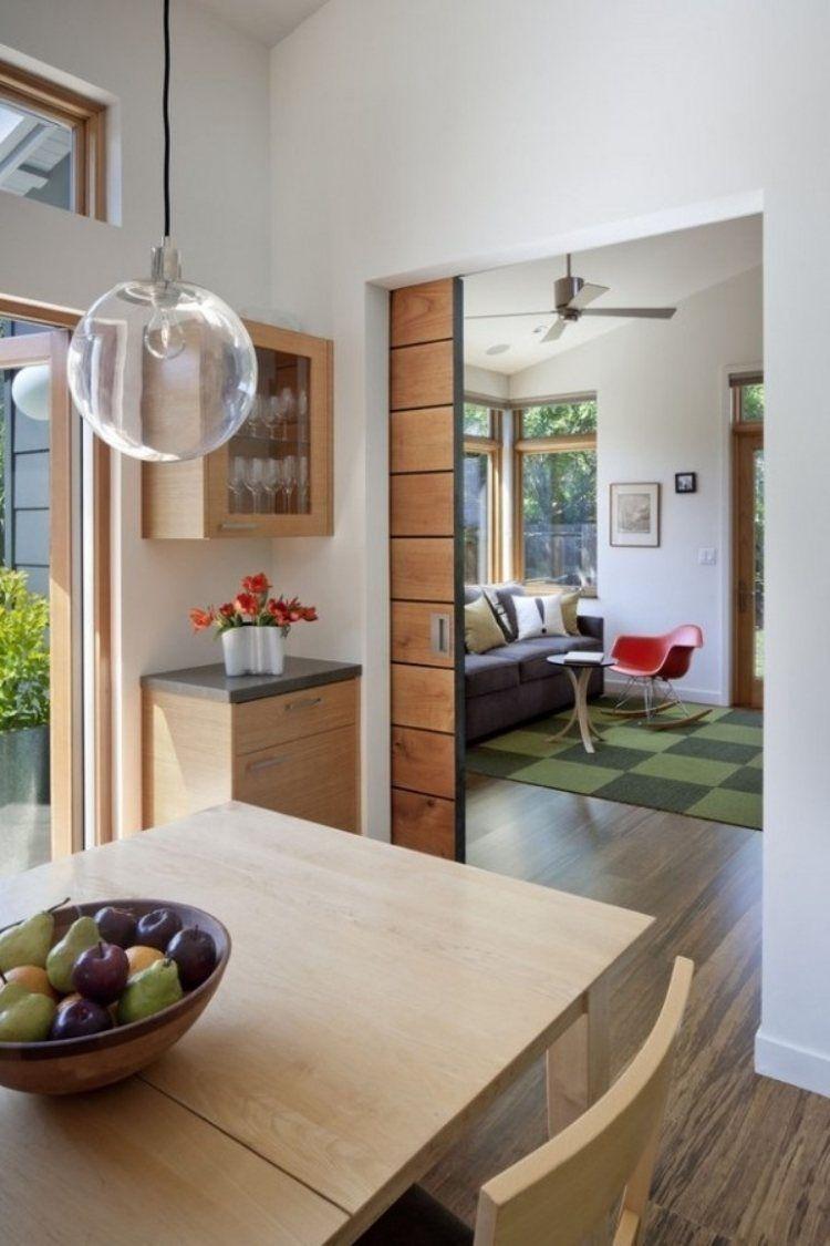 Schiebetür aus Holz in der Wand laufend | Türen | Küche und ...