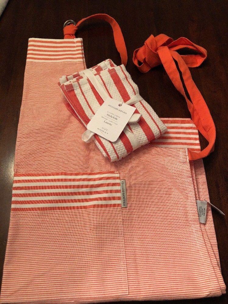 Williams Sonoma Apron And Dishtowels Kitchen Towel Set Apricot