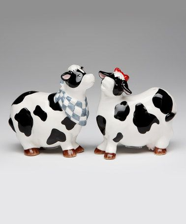 Look what I found on #zulily! Cow Clothes Salt & Pepper Shakers #zulilyfinds