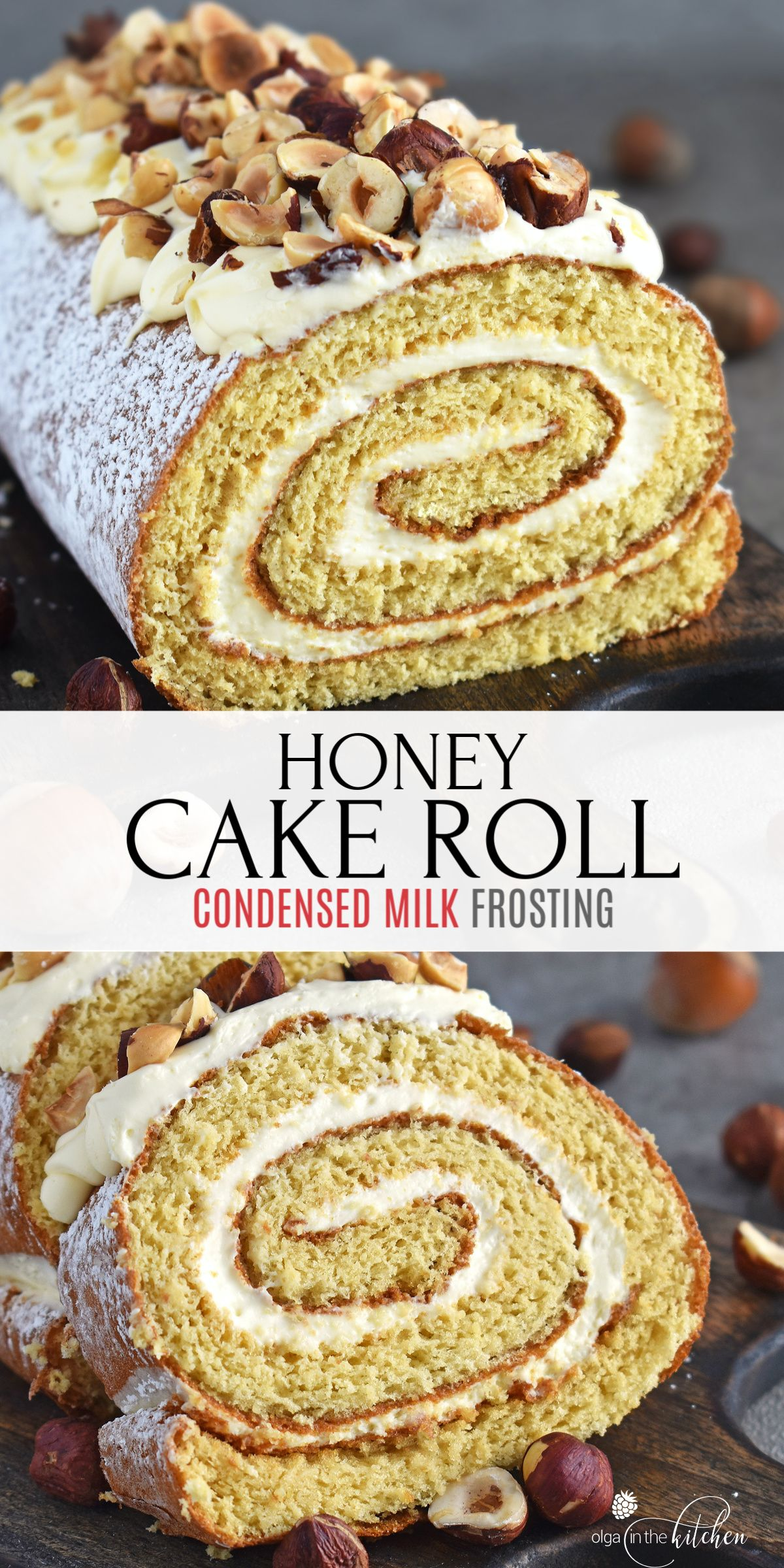Honey Cake Roll With Condensed Milk Frosting Olga In The Kitchen Recipe In 2020 Cake Roll Cake Roll Recipes Honey Cake Recipe