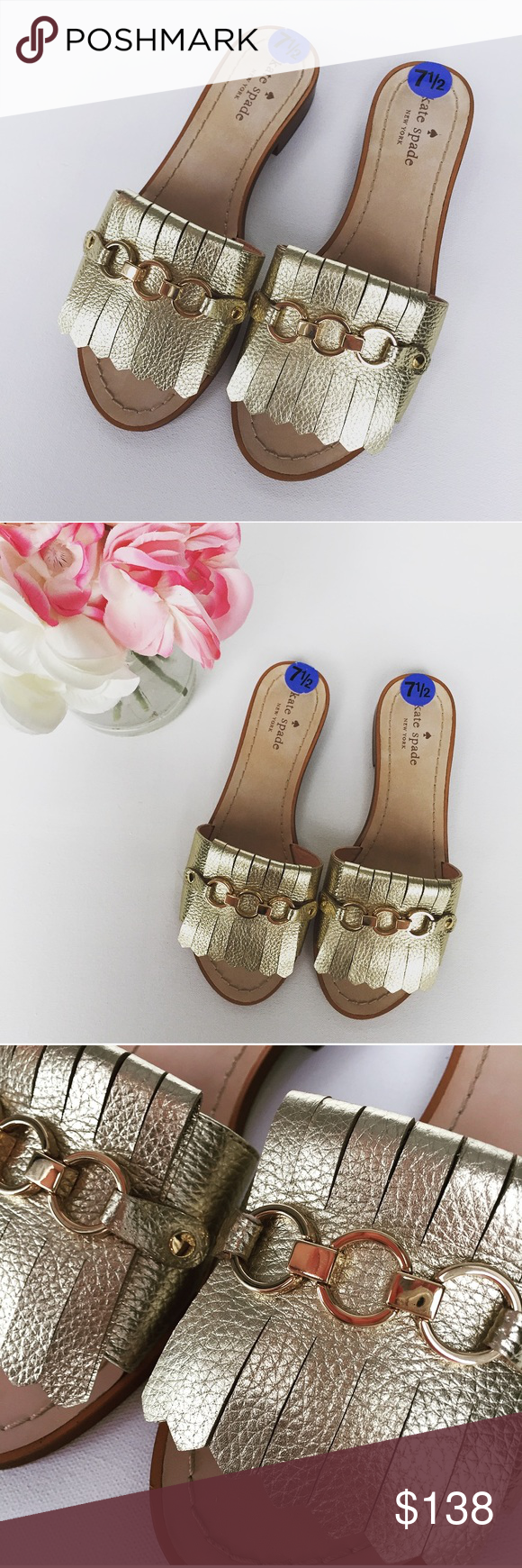 7d461932f New Kate Spade Brie Gold Leather Sandals This Unique Slide Is