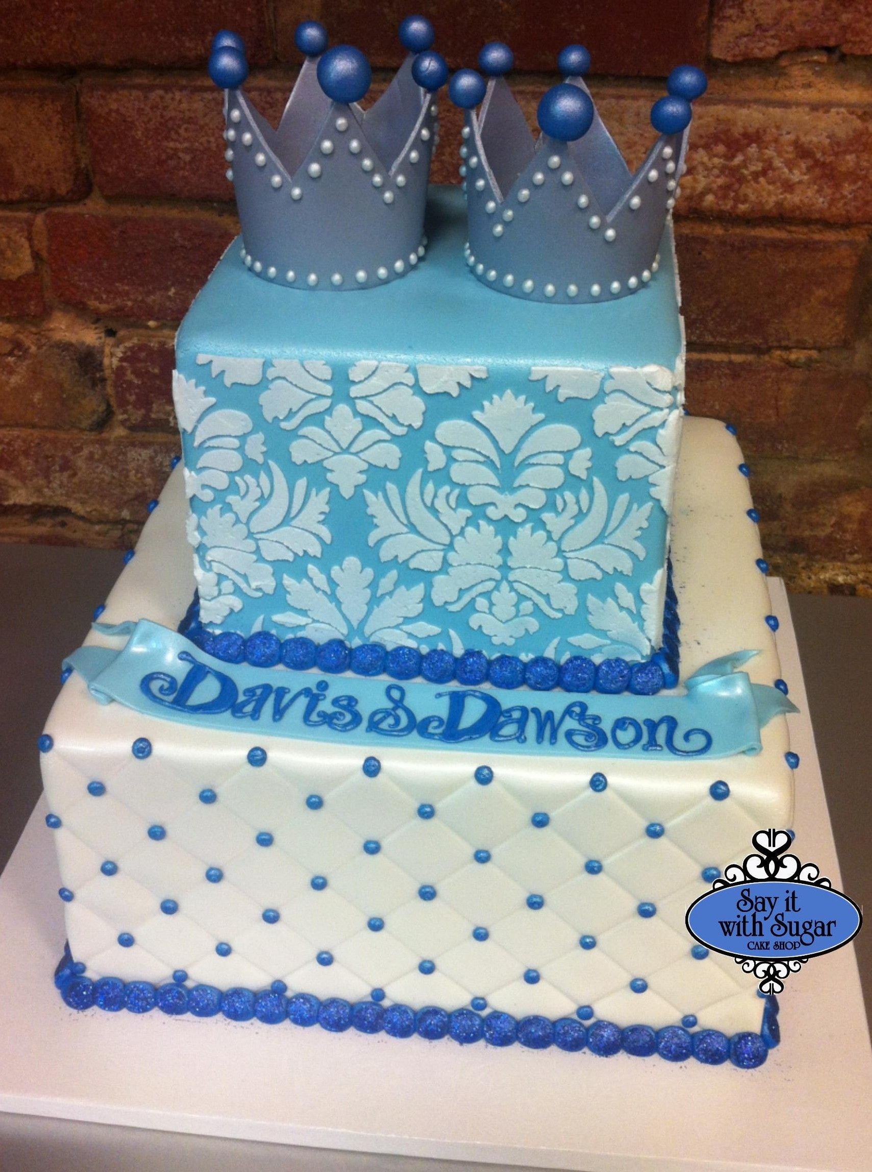 Twin Prince Baby Shower Cake | cakes by say it with sugar cake shop ...