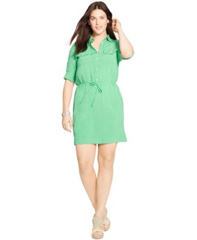 Lauren Ralph Lauren Plus Size Drawstring Waist Shirtdress Green