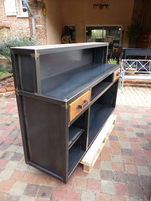 Fabrication sur mesure mobilier industriel bois métal sur commande