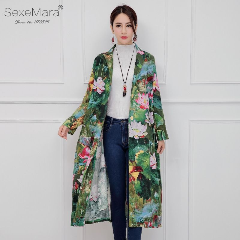 3188496a8ab Autumn Elegant Full Lotus Of Print Trend Coat Women Casual Loose Spring  Long Basic Coats Jacket