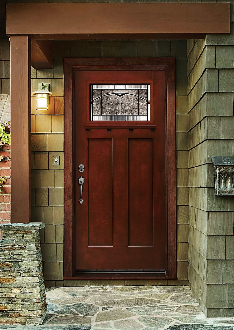 Get the look and feel of natural wood for your front door for Home depot front doors wood