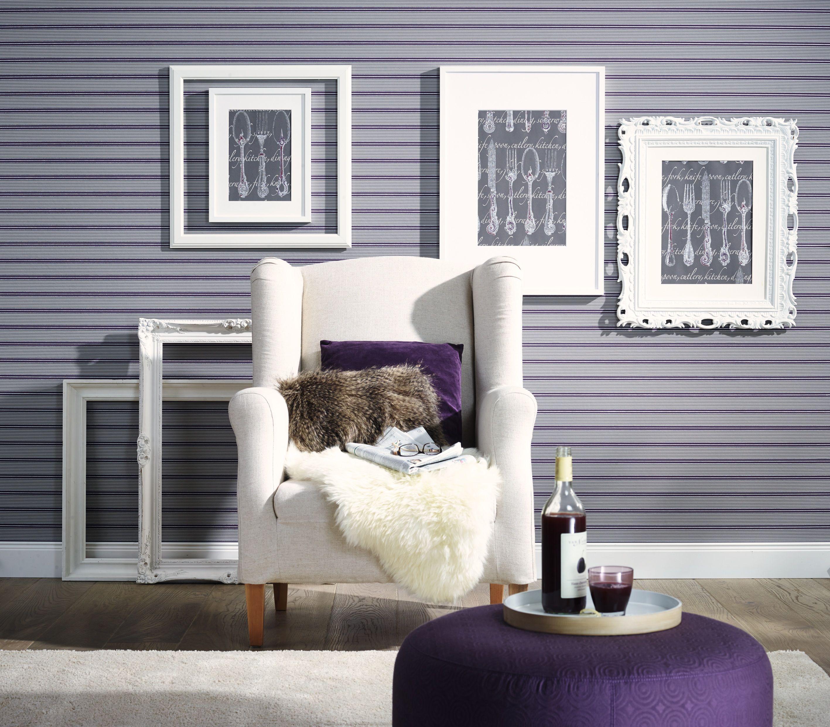 mix und match streifentapete mit bestecktapete im bilderrahmen zuhause wohnen kollektion 2014. Black Bedroom Furniture Sets. Home Design Ideas