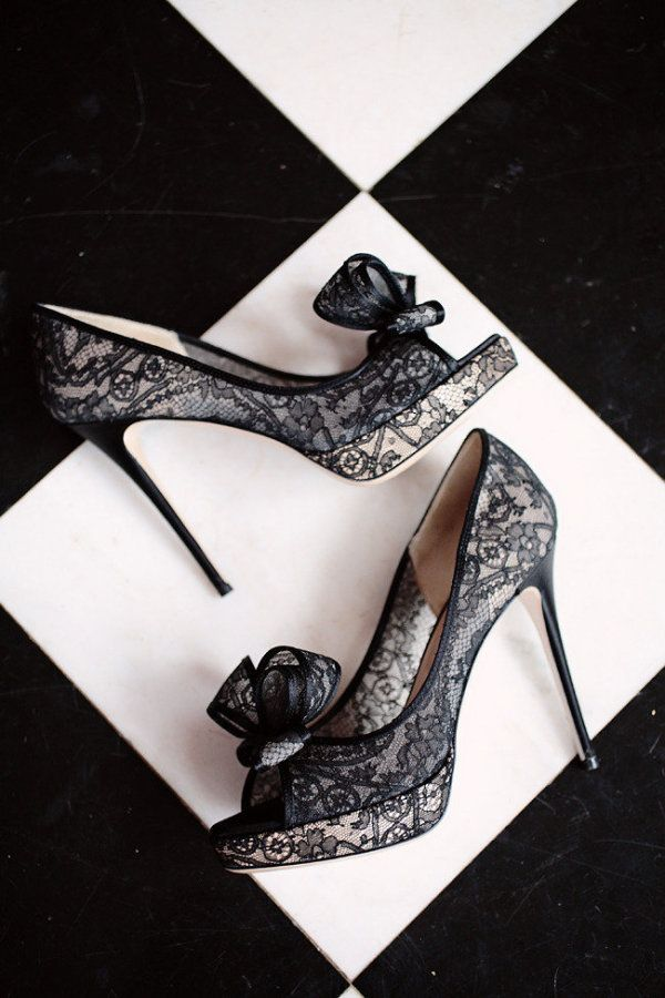 Black and white Wedding - valentino lace shoes / heels