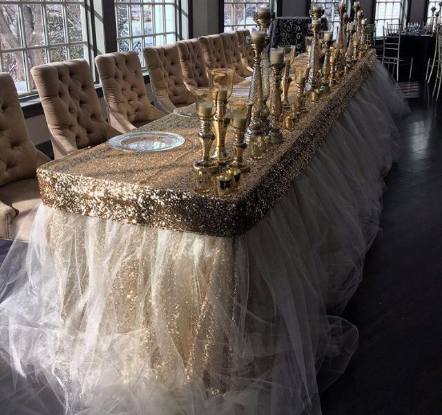 gold sequin and tulle head table by have a seat decor gold white rh pinterest com