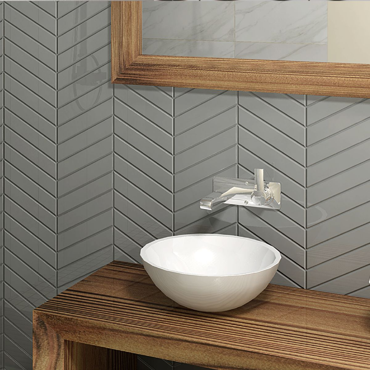 Peinture Salle De Bain Vert Olive ~ chevron tiles in soft shades of grey for those that loves modern