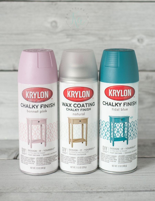 Krylon Chalk Finish Paint Sprinkled And Painted At Ka Styles Co Spray Paint Furniture Chalk Spray Paint Krylon