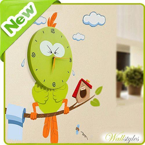 Clock Wall Sticker Animal Bird Designer Decor Mural Decal Art Kids Nursery Room | eBay