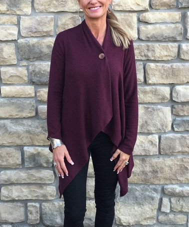 Look at this #zulilyfind! Burgundy Single-Button Cardigan #zulilyfinds