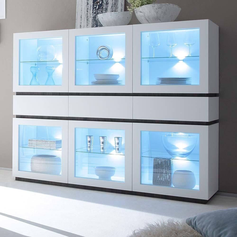 Wohnzimmer Highboard mit Glastüren Weiß Jetzt bestellen unter: https ...