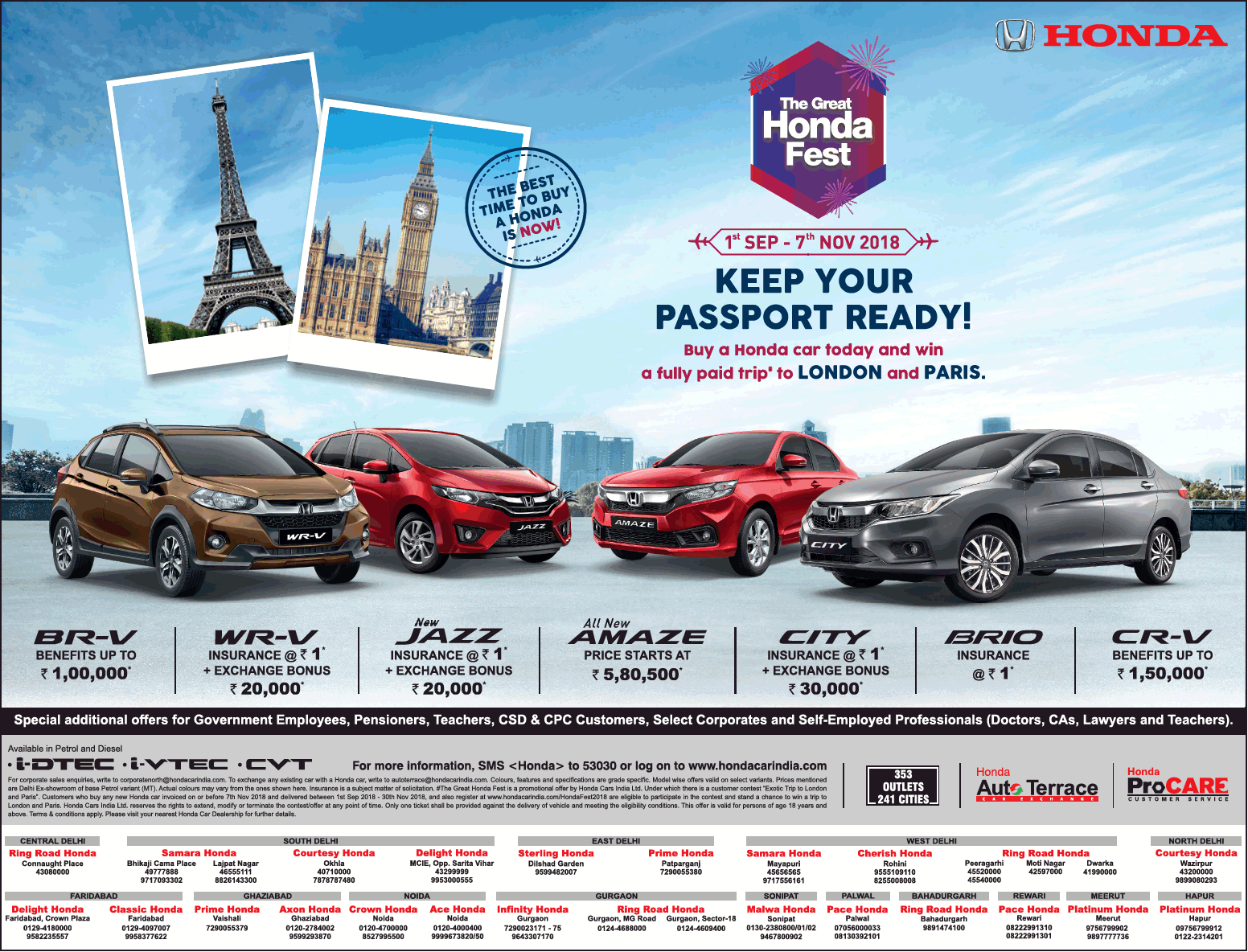Honda The Great Honda Fest Keep Your Passport Ready Ad Delhi Times Check Out More Car Advertisement Collection At Https Car Advertising London Travel Greatful