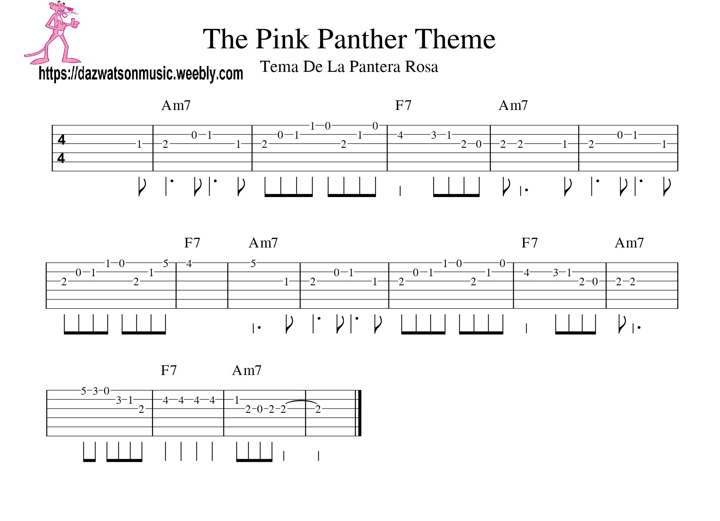 the pink panther theme tune easy guitar tab | Guitar tabs ...