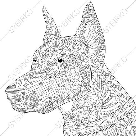 Doberman Dog. Coloring Page for National Pet day greeting cards ...