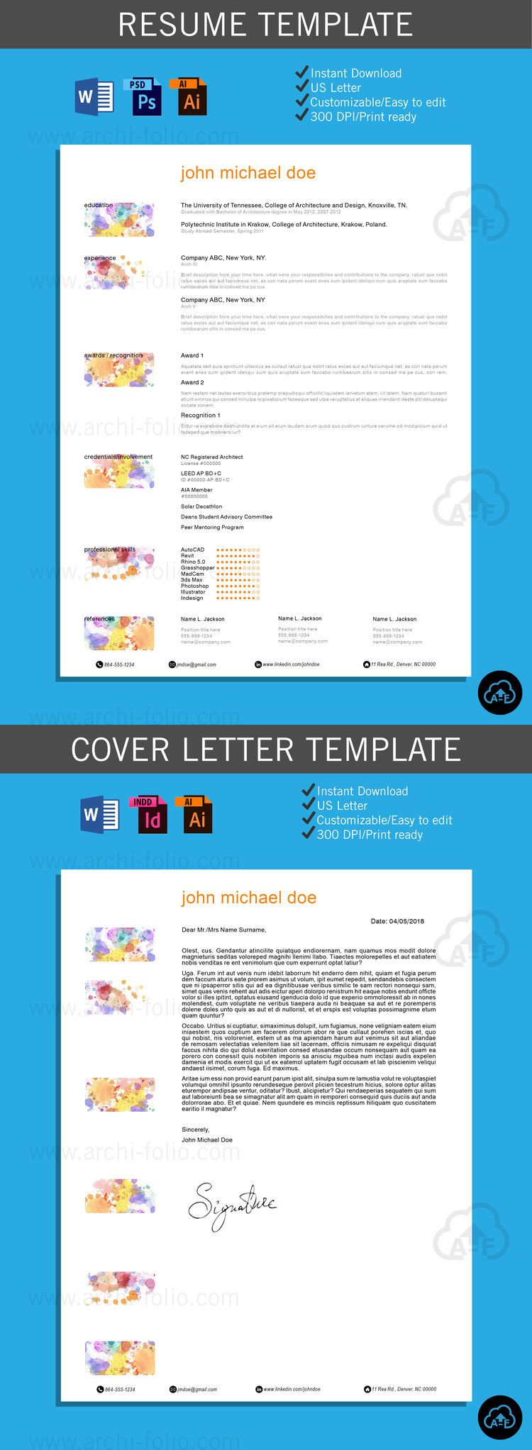 Resume  Watercolor  Theme CustomizableProfessional