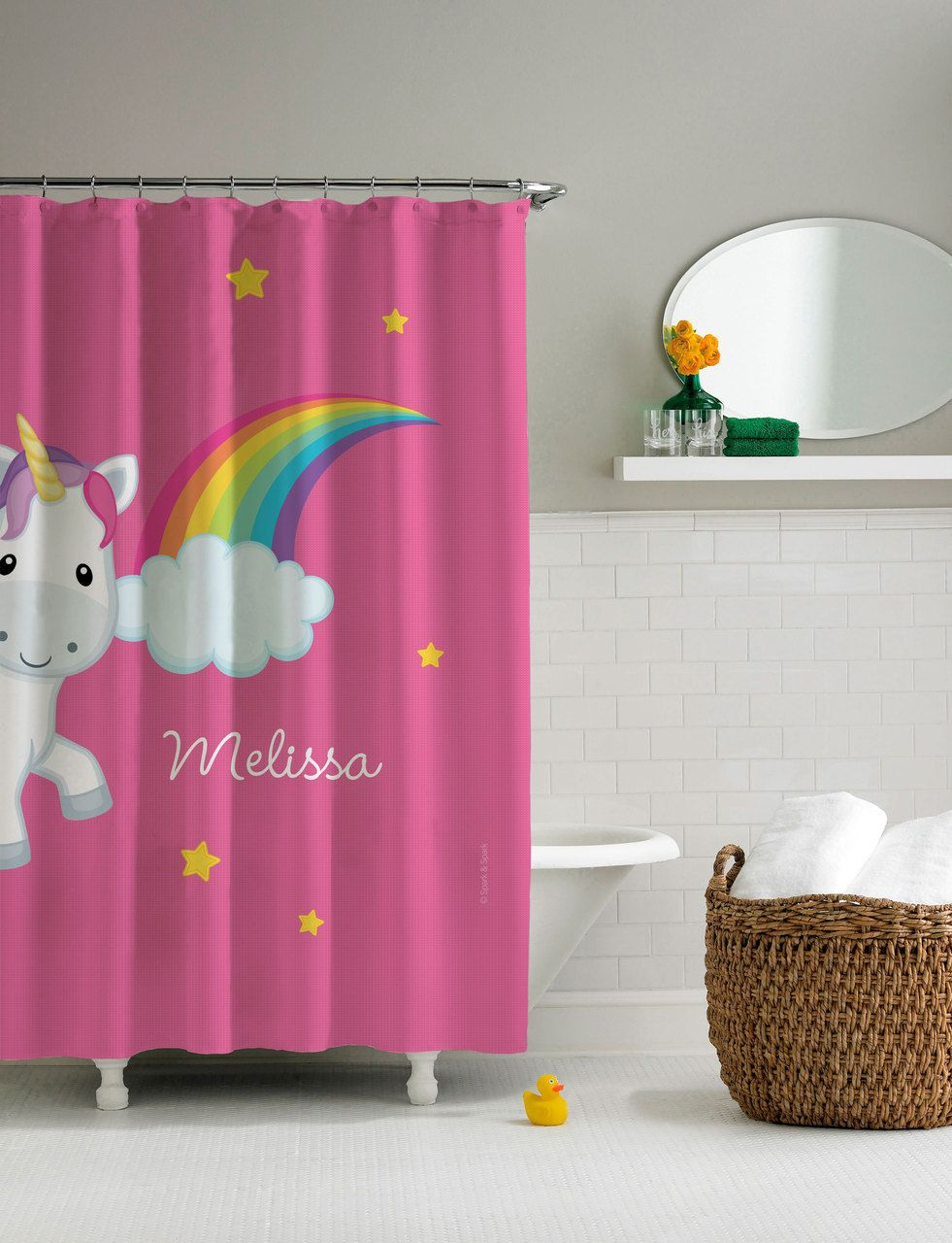 Rainbow Unicorn Shower Curtain Personalized Shower Curtain For