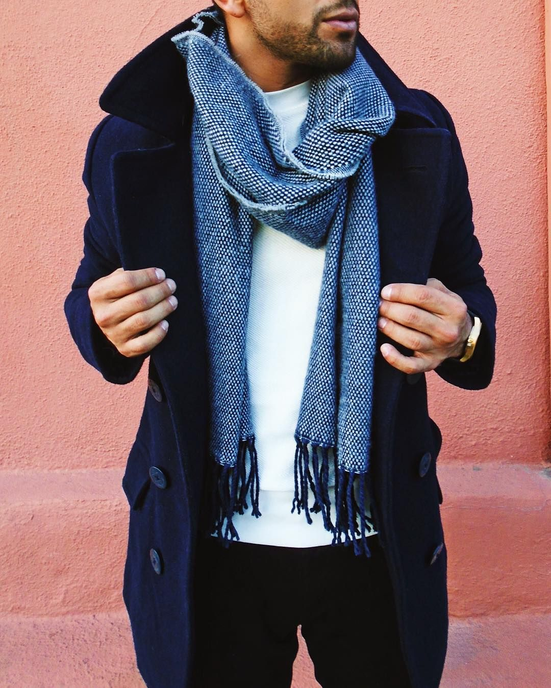23abebc743841 blues // menswear, mens style, fashion, peacoat, navy, blue, scarf,  t-shirt, winter, holiday, #sponsored