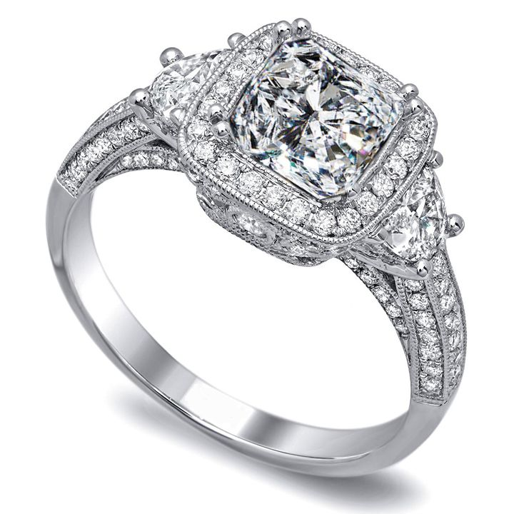 cushion diamond engagement ring half moon side stones pave bnad - Wedding Ring Diamond