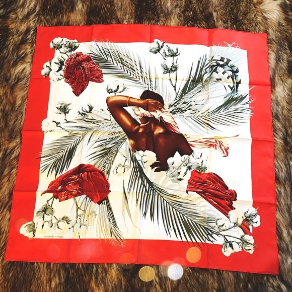 """Vintage Hermés Turbans des Reines Silk Scarf Excellent condition! Authentic Hermes Turbans des Reines Scarf. Fabric: 100% Silk. Artist: Michle Szabo. Color: Red Orange, White. Size: 35"""" x 35"""" inches / 90 x 90 cm. First Issue: 1997, 1998. Theme Design: Ethnic, Nature, Flowers Abstract, African Queen. Smoke/Pet free home. No PayPal or Trades! Hermes Accessories Scarves & Wraps"""