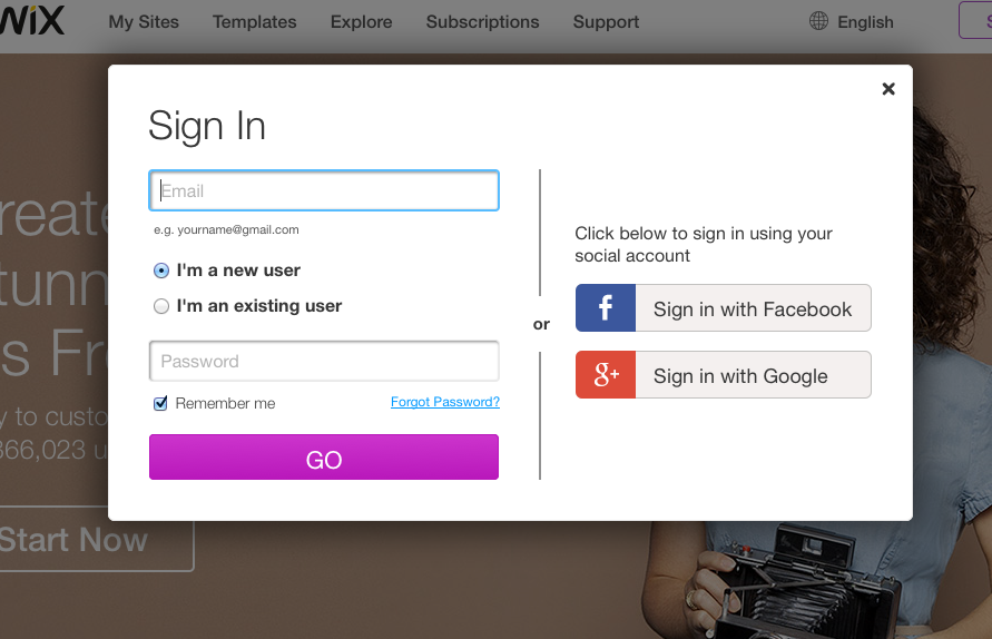Only 2 fields to sign up. Email, PW. Next screen asks user