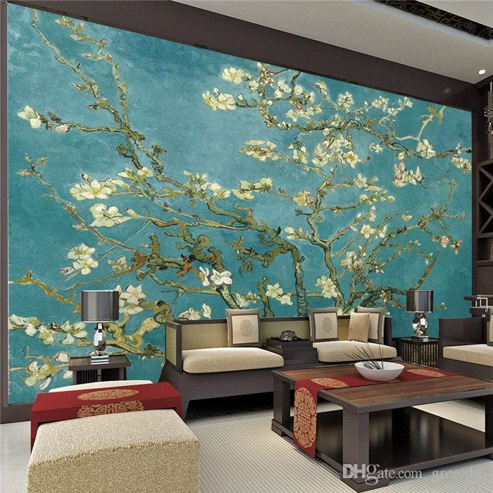 Large view van gogh plum flower photo wallpaper wall mural art giant wall decor poster corridor