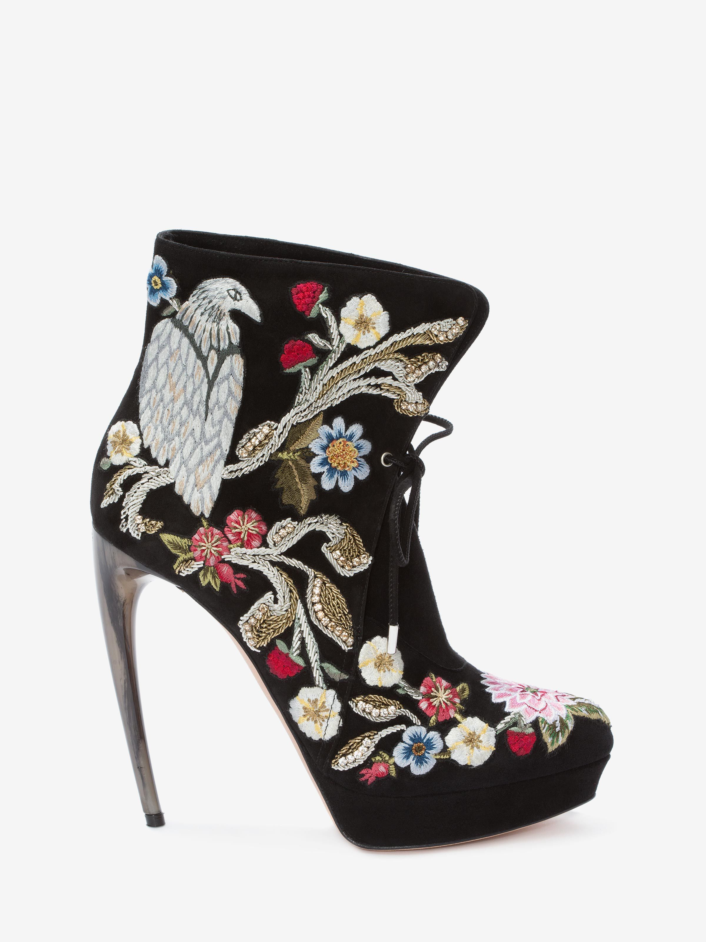 Medieval Embroidered Boot with Bi-Color Sculpted Heel