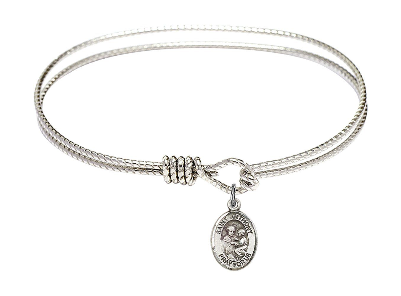 Cross Charm Charm On A 7 1//2 Inch Round Double Loop Bangle Bracelet