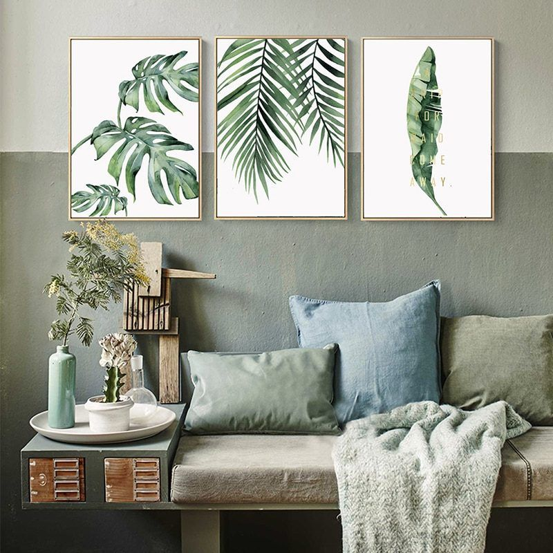 Simple Watercolor Plant Green Leaf Canvas Painting Art Deco Poster