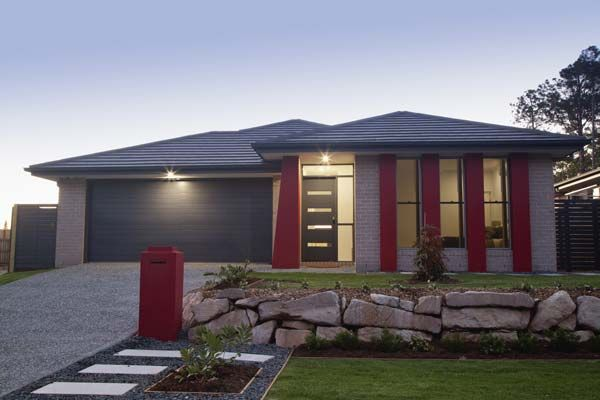 gray with red trim exterior paints | Grey Home With Red Accents ...