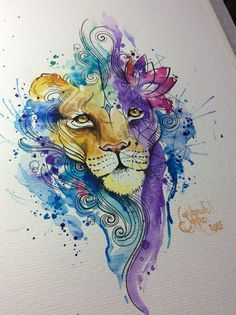 Watercolor Lion For A Tattoo Artist Deborah Deh Soares Studio