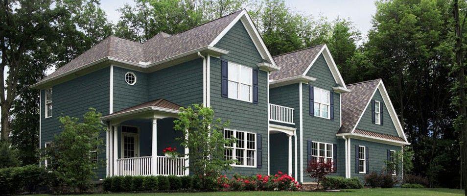 Ivy green home design pinterest green siding shake for Green siding house