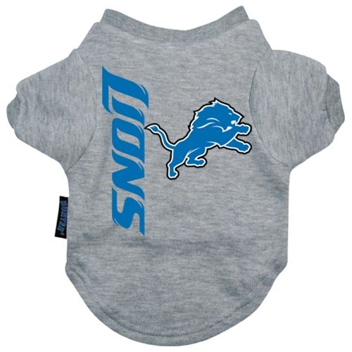 Buy a football shirt for your dog. The Detroit Lions NFL T-Shirt for dogs let your pet stay warm. Pet clothes for football fans! NFL doggie tees for pets are a great pet accessory, and clothing for dogs and cats, also a dog halloween costume.
