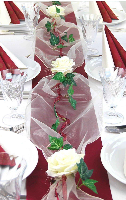 Tischdekoration Einer Hochzeit In Bordeaux Weiss Komplettset