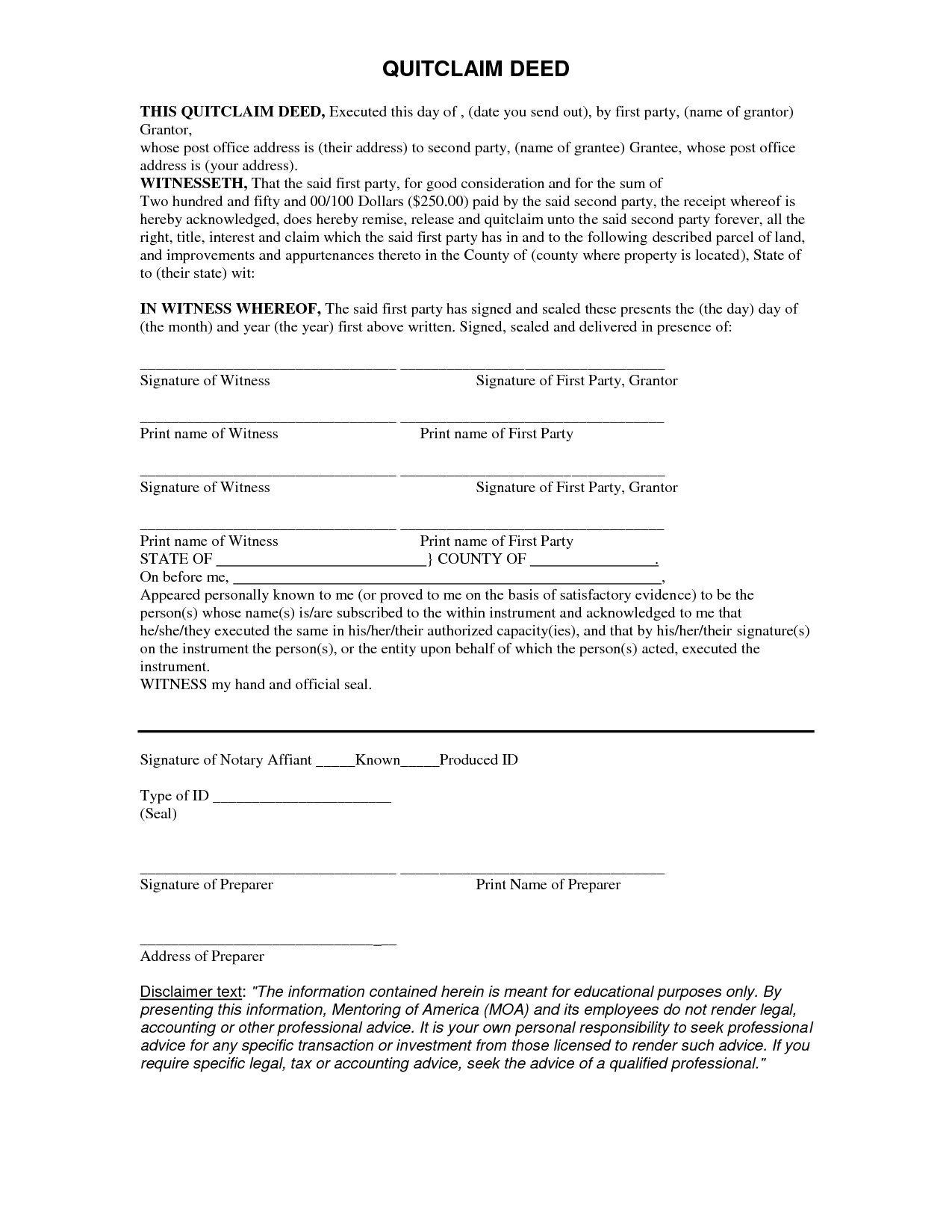 Free Quit Claim Deed Form  Quit Form  Legal Forms