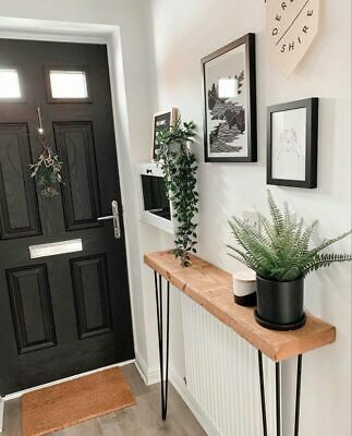 Rustic wood console table with hairpin legs, 45mm thick, rustic hallway table.