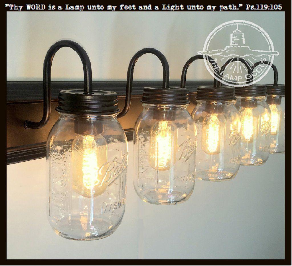 Mason Jar Bathroom Vanity 5 Light Wall Sconce Fixture Lamp Goods