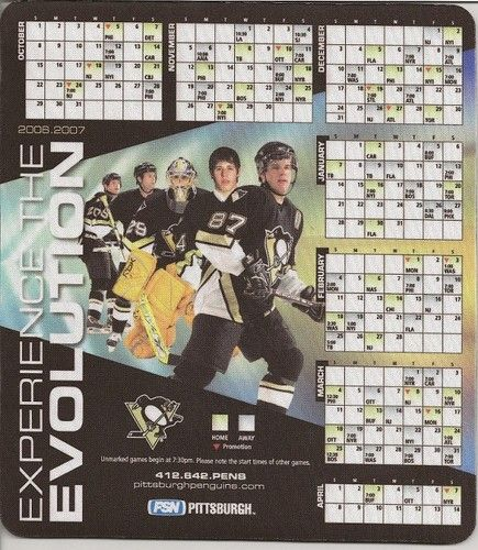 2006-07 Pittsburgh Penguins Mouse Pad Schedule