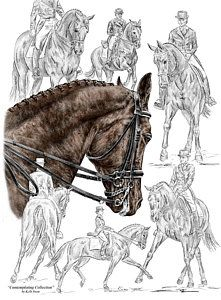 Equine Drawing - Contemplating Collection - Dressage Horse Print ...