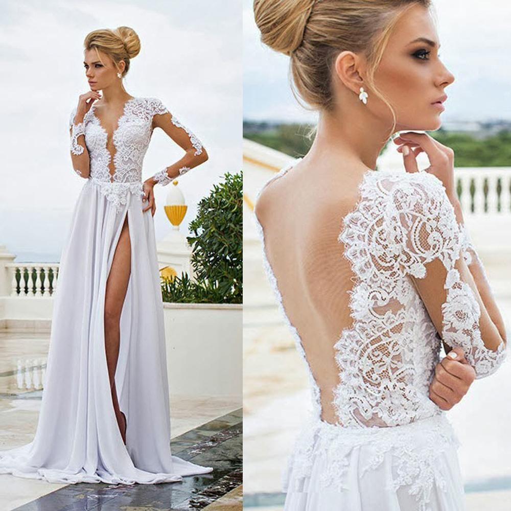 Summer Bohemian Boho Wedding Gowns Dresses Sexy V Neck Transparent Lace  Long Sleeve A Line Beach Bridal Dress Split Chiffon Vestidos W2968 from  Store005 ... b1422eb11