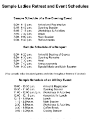 Ladies Retreat Agenda Sample  Women