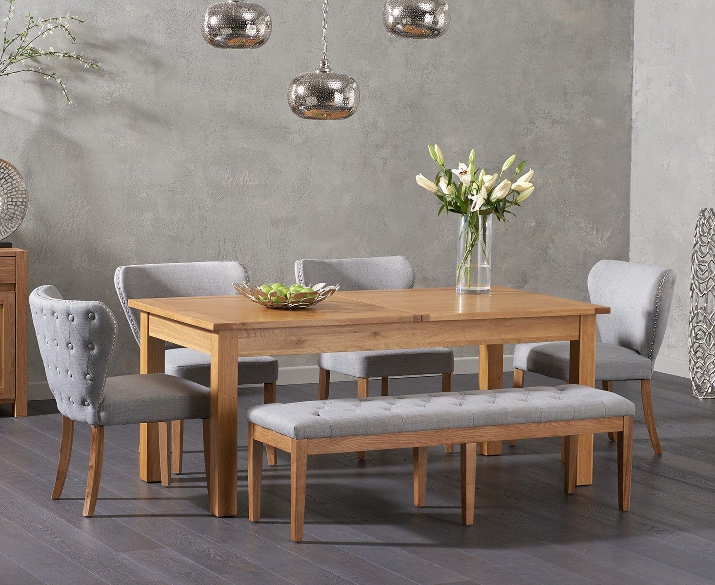 Somerset 180cm Oak Extending Dining Table With Isobel Chairs And