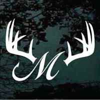 Antlers Fish Hook Monogram Decals - Monogram decal for car window