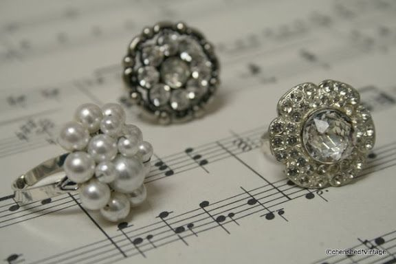 Rings made from vintage buttons and earrings...LOVE this idea!