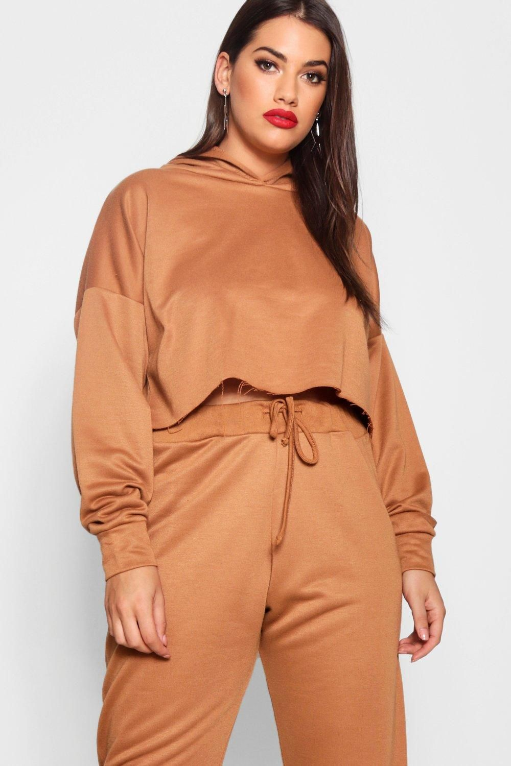 6854be614b8 Click here to find out about the Plus Lara Crop Loop Back Tonal Hoody from  Boohoo