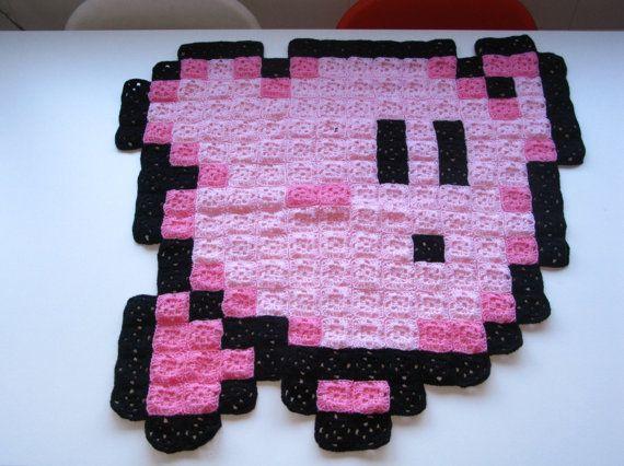 flying kirby 8 bit crochet blanket etsy huovat ja virkatut peitot