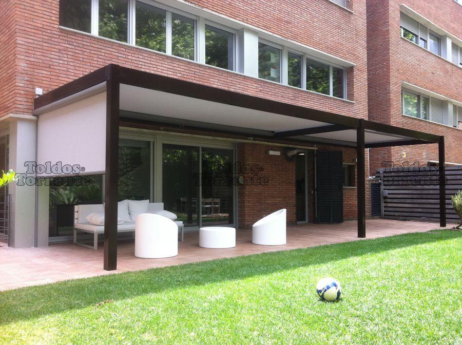 Toldos para terraza planos de veranda project atic l s for Choza de jardin de madera techo plano